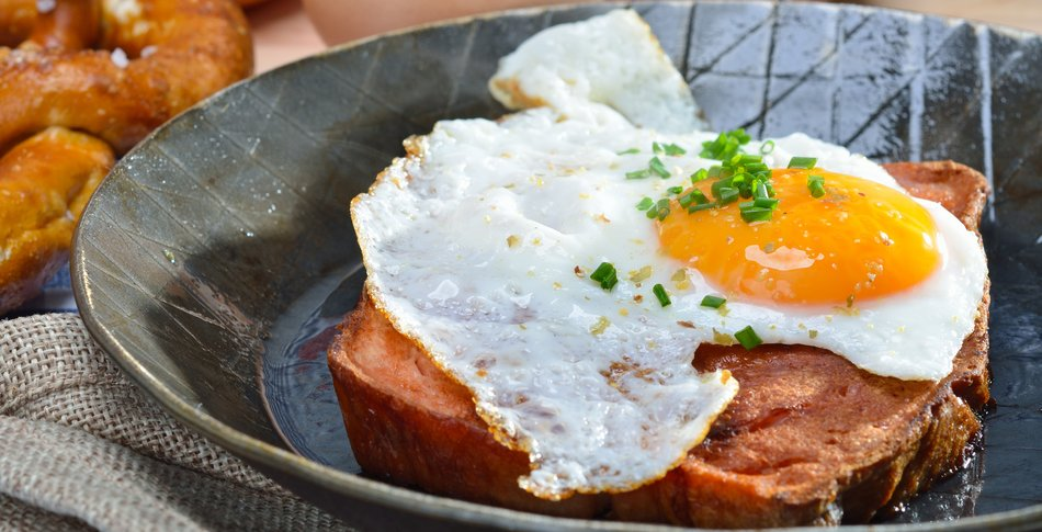 Fried meat loaf with fried egg